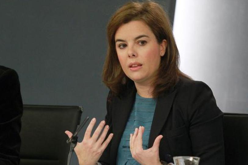 La vicepresidenta del Gobierno, ministra de la Presidencia y Portavoz, Soraya Sáenz de Santamaría, durante la rueda de prensa posterior al Consejo de Ministros.