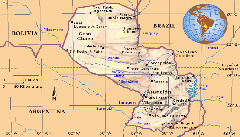 Paraguay map.