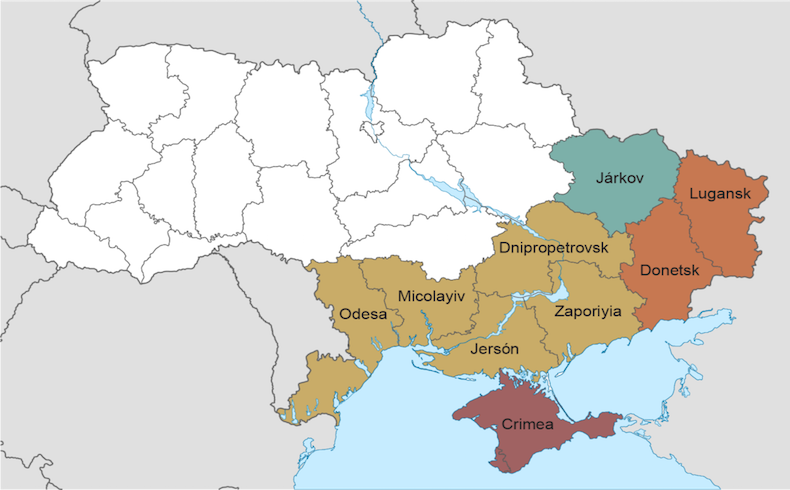 Mapa de la crisis en Ucrania