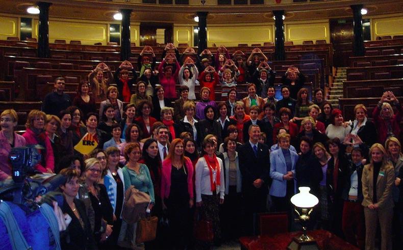 Organizaciones de Mujeres y diputados y diputadas en el hemiciclo celebrando la aprobación de la Ley Integral contra la Violencia de Género.
