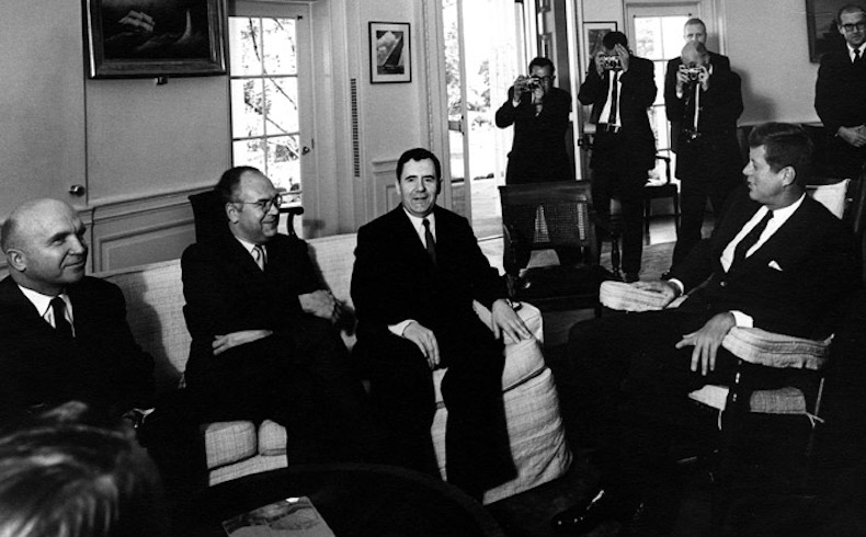 "AR 7552-B  18 October 1962 Meeting with the Soviet Minister of Foreign Affairs. L-R: Vladimir Semenov, Dep. Minister of Foreign Affairs, USSR; Anatoly Dobrynin, Ambassador of the USSR; Andrei Gromyko, Soviet Minister of Foreign Affairs; President Kennedy. White House, Oval Office. Please credit ""Abbie Rowe, National Park Service/John F. Kennedy Library"" for the image."